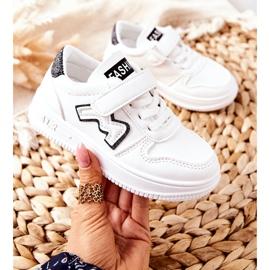 Dziecięce Sportowe Buty Na Rzepy Biało Czarne Santi białe 3