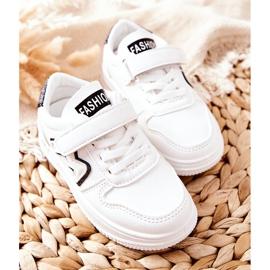 Dziecięce Sportowe Buty Na Rzepy Biało Czarne Santi białe 2