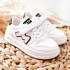 Dziecięce Sportowe Buty Na Rzepy Biało Czarne Santi białe 5