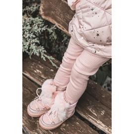 FRROCK Dziecięce Botki Śniegowce Z Futerkiem Pink Minnie Mouse różowe srebrny 4