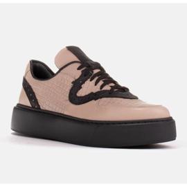 Marco Shoes Lekkie sneakersy z naturalnej skóry beżowy 1