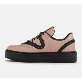 Marco Shoes Lekkie sneakersy z naturalnej skóry beżowy 2
