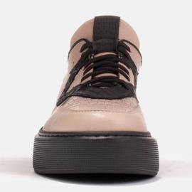 Marco Shoes Lekkie sneakersy z naturalnej skóry beżowy 7