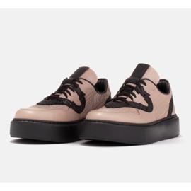 Marco Shoes Lekkie sneakersy z naturalnej skóry beżowy 6
