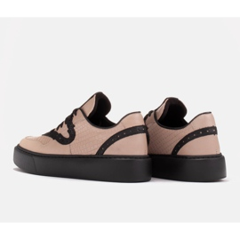 Marco Shoes Lekkie sneakersy z naturalnej skóry beżowy 3