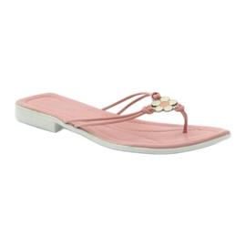 Via-Nova Klapki buty damskie japonki Via Uno różowe białe 1