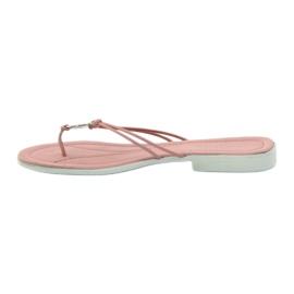 Via-Nova Klapki buty damskie japonki Via Uno różowe białe 2