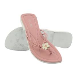 Via-Nova Klapki buty damskie japonki Via Uno różowe białe 3