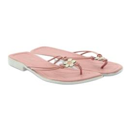 Via-Nova Klapki buty damskie japonki Via Uno różowe białe 4