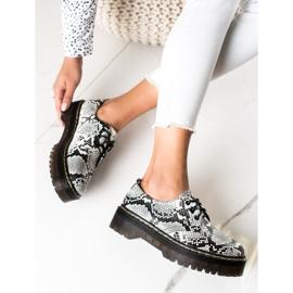 Sweet Shoes Półbuty Na Platformie Snake Print białe czarne 3