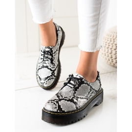 Sweet Shoes Półbuty Na Platformie Snake Print białe czarne 1