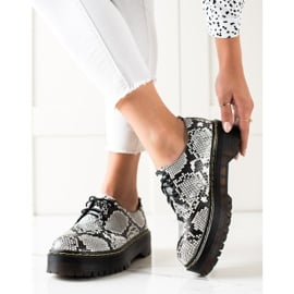 Sweet Shoes Półbuty Na Platformie Snake Print białe czarne 2
