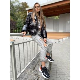 SHELOVET Komfortowe Modne Sneakersy czarne pomarańczowe srebrny 1