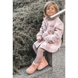 Ocieplane Dziecięce Młodzieżowe Botki Śniegowce Różowe Gooby 10
