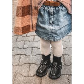 FR1 Dziecięce Botki Ocieplane Łańcuch Czarne Hinea 14