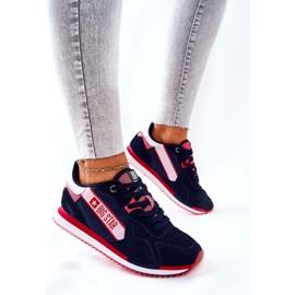 Skórzane Sportowe Buty Big Star II274270 Granatowe białe czerwone 3