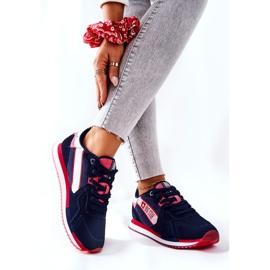 Skórzane Sportowe Buty Big Star II274270 Granatowe białe czerwone 2