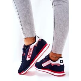 Skórzane Sportowe Buty Big Star II274270 Granatowe białe czerwone 5