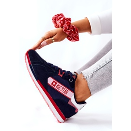 Skórzane Sportowe Buty Big Star II274270 Granatowe białe czerwone 6