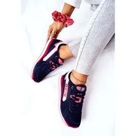 Skórzane Sportowe Buty Big Star II274270 Granatowe białe czerwone 7