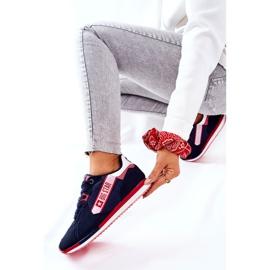 Skórzane Sportowe Buty Big Star II274270 Granatowe białe czerwone 8