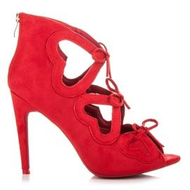 Vices Sznurowane sandałki damskie czerwone 7