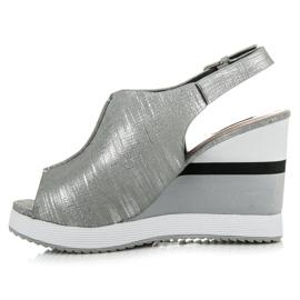 Vices Wygodne buty na koturnie szare 4