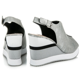 Vices Wygodne buty na koturnie szare 5